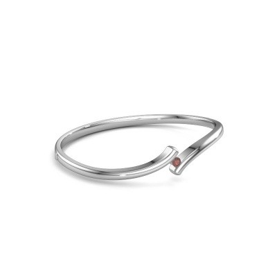 Slavenarmband Amy 585 witgoud granaat 3.4 mm