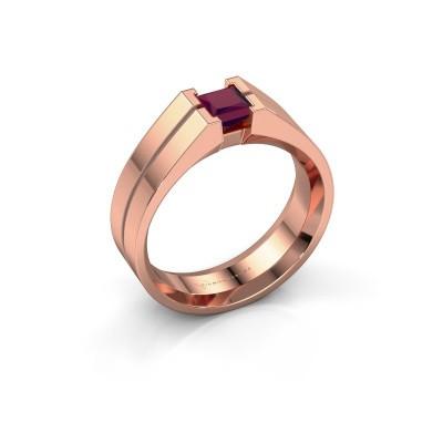 Foto van Heren ring Stefan 375 rosé goud rhodoliet 4.5 mm
