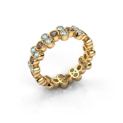 Ring Victoria 375 gold smokey quartz 2.4 mm