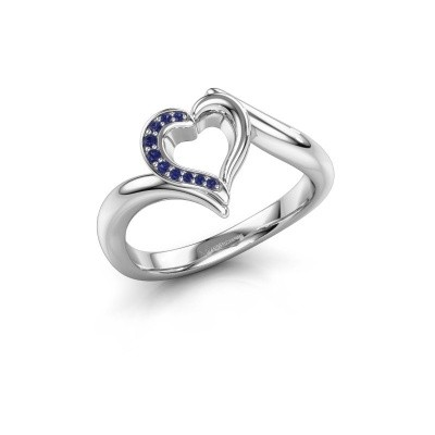 Ring Katlyn 950 platina saffier 0.8 mm