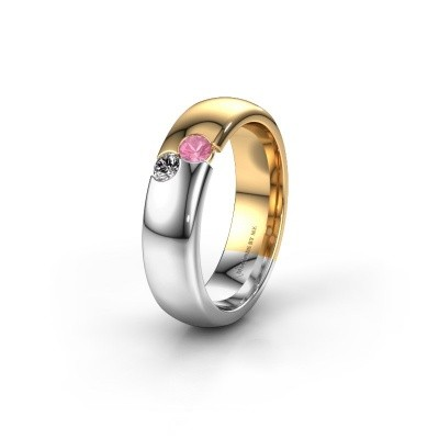 Wedding ring WH1003L26C 585 gold pink sapphire ±6x2.2 mm