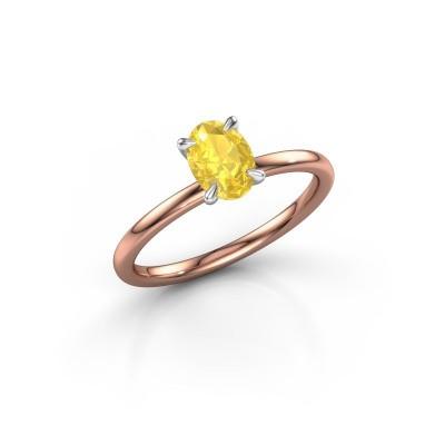 Foto van Verlovingsring Crystal OVL 1 585 rosé goud gele saffier 7x5 mm