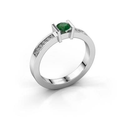 Aanzoeksring Maryam 585 witgoud smaragd 4 mm