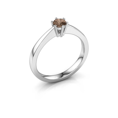Bague de fiançailles Noortje 585 or blanc diamant brun 0.25 crt