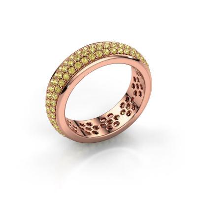 Ring Tara 585 rosé goud gele saffier 1.3 mm