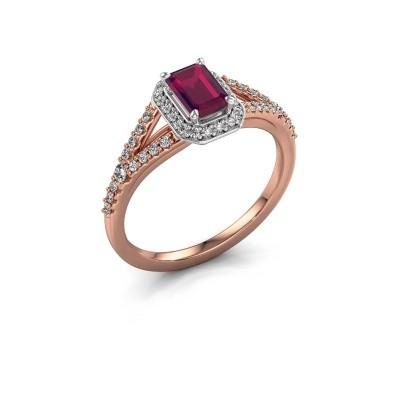Verlovingsring Pamela EME 585 rosé goud rhodoliet 6x4 mm