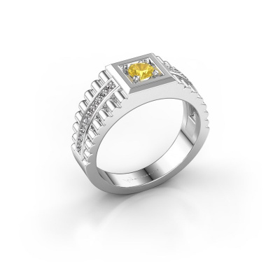 Foto van Heren ring Maikel 925 zilver gele saffier 4.2 mm