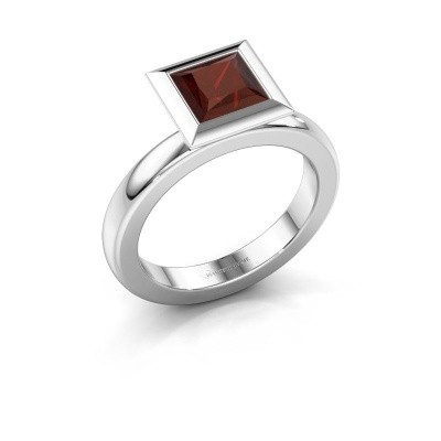 Stapelring Trudy Square 925 zilver granaat 6 mm