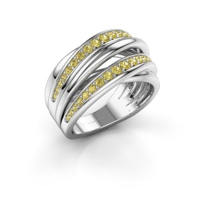 Ring Marylouise 2 585 white gold yellow sapphire 1.2 mm