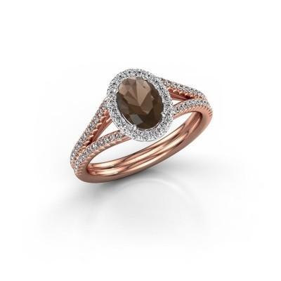 Engagement ring Rachele 2 585 rose gold smokey quartz 7x5 mm