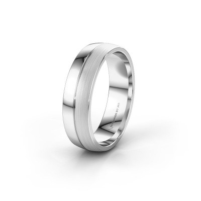 Wedding ring WH0200M25APM 585 white gold ±0.24x0.07 in
