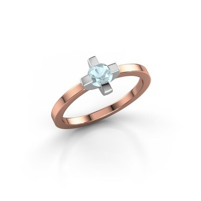 Ring Therese 585 rosé goud aquamarijn 4.2 mm