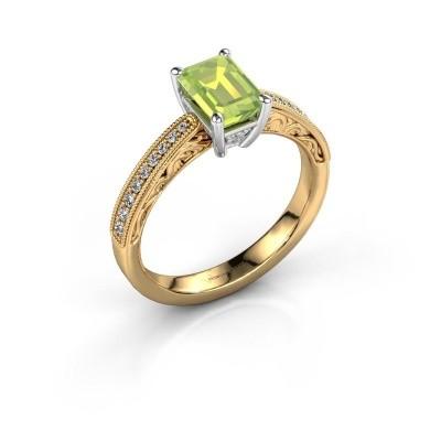 Verlovingsring Shonta EME 585 goud peridoot 7x5 mm