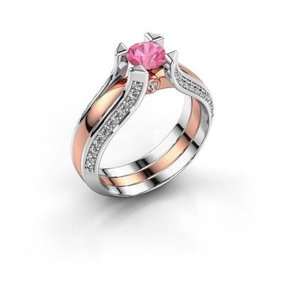 Verlovingsring Nadine 585 rosé goud roze saffier 5 mm