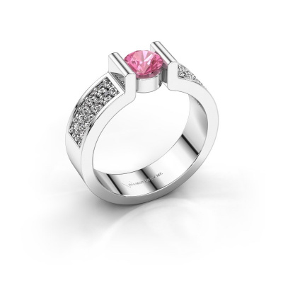 Engagement ring Isabel 3 585 white gold pink sapphire 5 mm