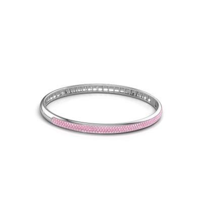Foto van Armband Emely 5mm 585 witgoud roze saffier 1.1 mm