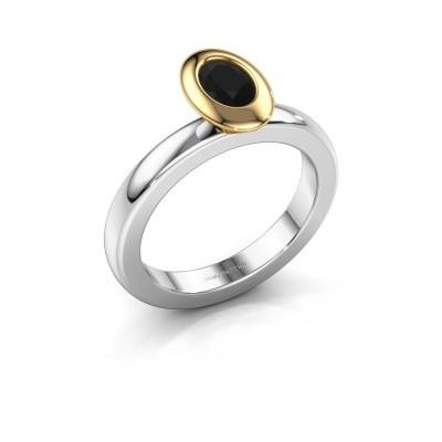 Steckring Trudy Oval 585 Weißgold Schwarz Diamant 0.60 crt