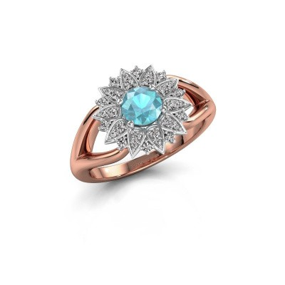 Verlovingsring Chasidy 1 585 rosé goud blauw topaas 5 mm