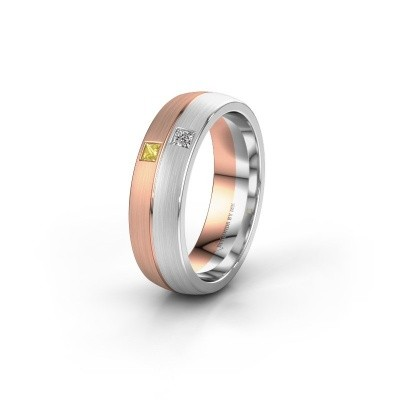 Wedding ring WH0250L26BM 585 rose gold yellow sapphire ±0.24x0.08 in