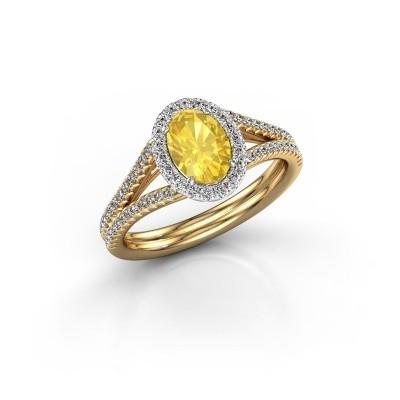 Verlovingsring Rachele 2 585 goud gele saffier 7x5 mm