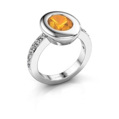Ring Selene 2 585 white gold citrin 9x7 mm