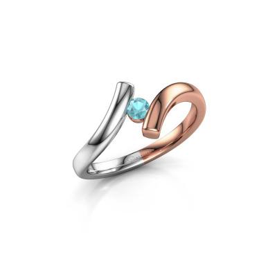 Ring Amy 585 rosé goud blauw topaas 3 mm
