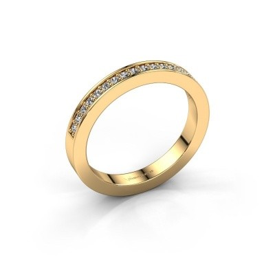 Stackable ring Loes 4 375 gold diamond 0.18 crt