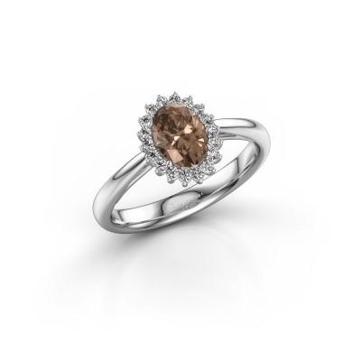 Foto van Verlovingsring Tilly ovl 1 925 zilver bruine diamant 0.80 crt