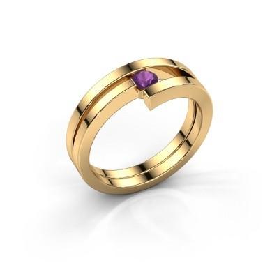 Ring Nikia 585 goud amethist 3.4 mm