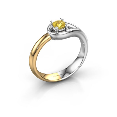 Ring Fabienne 585 witgoud gele saffier 4 mm