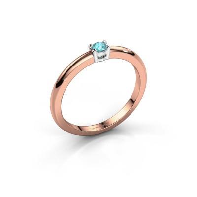 Foto van Verlovingsring Michelle 1 585 rosé goud blauw topaas 2.7 mm