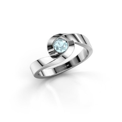 Foto van Ring Sheryl 950 platina aquamarijn 4 mm