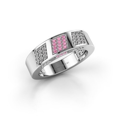 Ring Jessika 585 witgoud roze saffier 1.1 mm