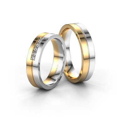 Photo de Alliances set WH0211LM15A17P ±5x1.7 mm 14 Carat or jaune diamant 0.02 crt