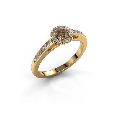 Bague de fiançailles Aaf 375 or jaune diamant brun 0.46 crt