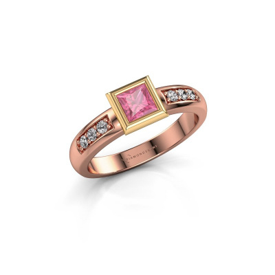 Stacking ring Lieke Square 585 rose gold pink sapphire 4 mm