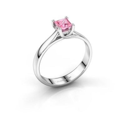Engagement ring Mia Square 585 white gold pink sapphire 4 mm