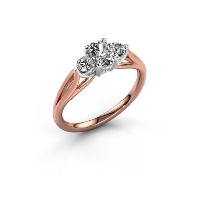 Foto van Verlovingsring Amie OVL 585 rosé goud diamant 0.70 crt