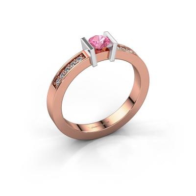 Aanzoeksring Maryam 585 rosé goud roze saffier 4 mm