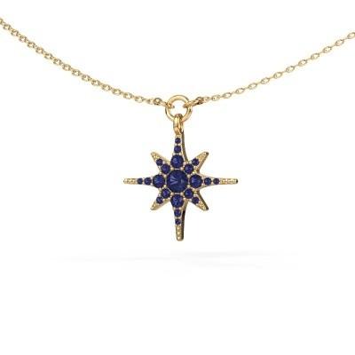 Halsketting Star 375 goud saffier 3 mm