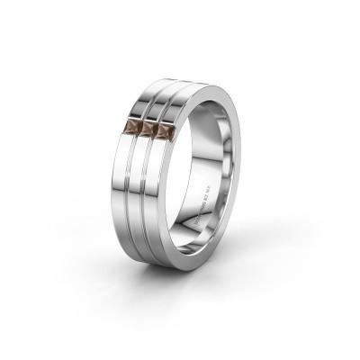 Wedding ring WH0428L16BP 585 white gold smokey quartz ±0.24x0.08 in