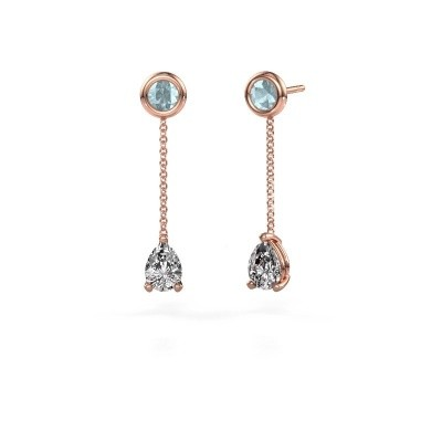 Picture of Drop earrings Laurie 3 375 rose gold zirconia 7x5 mm