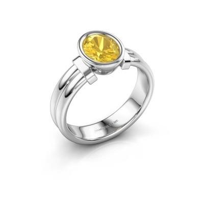 Ring Gerda 925 silver yellow sapphire 8x6 mm