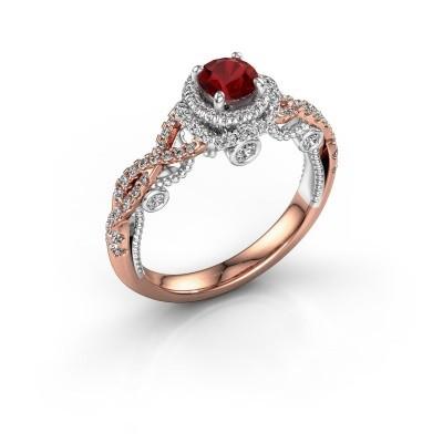 Foto van Verlovingsring Leora 585 rosé goud robijn 4.7 mm