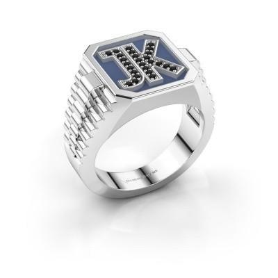 Foto van Zegelring Mike 925 zilver zwarte diamant 0.006 crt