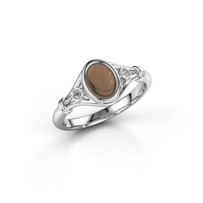 Foto van Ring Scarlett 925 zilver rookkwarts 7x5 mm