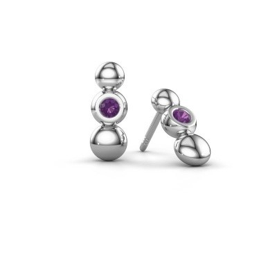 Picture of Earrings Lily 925 silver amethyst 2.5 mm