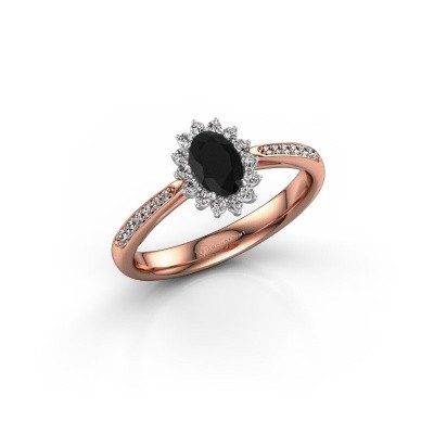 Picture of Engagement ring Tilly ovl 2 585 rose gold black diamond 0.60 crt