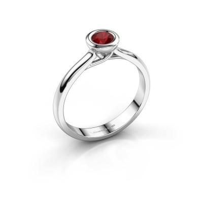 Foto van Verlovings ring Kaylee 585 witgoud robijn 4 mm
