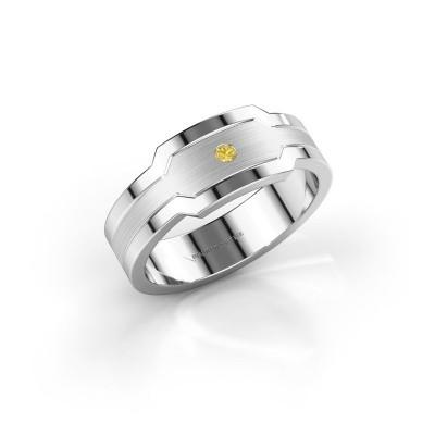 Heren ring Guido 950 platina gele saffier 2 mm